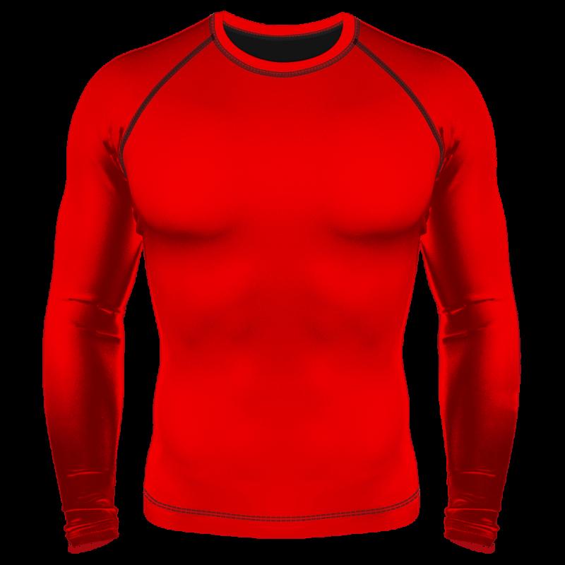 Детский Компрессионный рашгард (лонгслив) красный однотон
