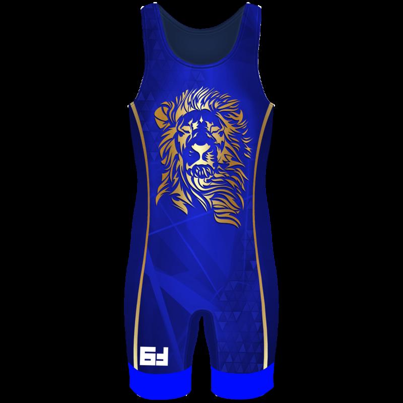 Детское Борцовское трико Lion синий