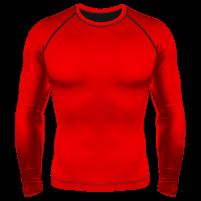 Компрессионный рашгард (лонгслив) красный